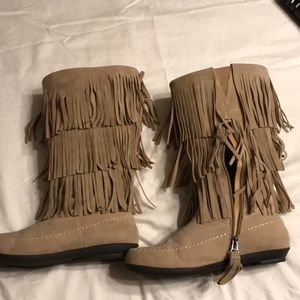 Women S Wide Calf Fringe Boots On Poshmark